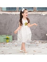 Morbuy Ropa de niñas, Estrella de Cinco Puntas Vestidos de Fiesta de Princesa Super Lindo Diseñador de Moda Vestidos de Niñas para el partido Boda Pompa (140, Blanco)
