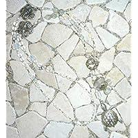 lange Y - Kette - SCHILDKRÖTE - weiß & kristall -
