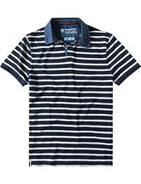 Strellson Sportswear Herren Polo-Shirt J-Pierce Baumwolle Modisch Gestreift, Größe: M, Farbe: Blau