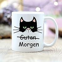 Wandtattoo Loft® Keramiktasse bedruckt Guten Morgen Katze Morgenmuffel Tasse / beidseitig / spülmaschinengeeignet