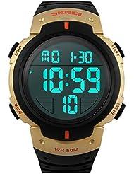 TTLIFE 1058 Reloj de Pulsera Deportivo Digital Impermeable Multifuncional al aire libre para hombre y mujer(dorado)