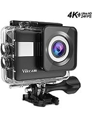 Action Sport Kamera, Vikcam 4K Actioncam WiFi 2.31 Zoll Touchscreen Action Kamera FHD 20MP Helmkamera 170°Super Weitwinkel Wasserdichte Kamera mit kostenlose Zubehör-Schwarz