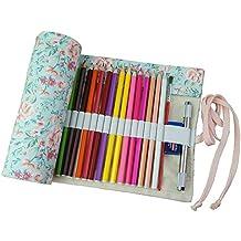 Demarkt 36 agujeros Abrigo de la lona rueda para arriba la caja de la pluma del bolso del lápiz bolsa de almacenamiento Floral Estilo(No incluir Lápices
