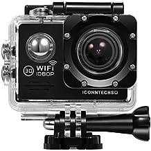 ICONNTECHS IT Action Cameras C2 Sport Action Camera, Full HD 1080P, Impermeabile, Lente Grandangolo 170°, Videocamera WiFi HDMI, Accessori per Caschi, Immersioni Sub, Bicicletta e Sport Estremi, Nera