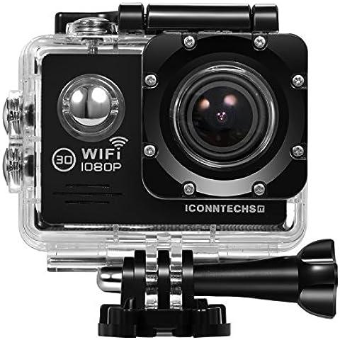 ICONNTECHS IT FULL HD 1080P Cámara deportiva y acción sumergible, lente angular de 170°, WiFi, grabación HDMI, accesorios para casco, bicicleta y deportes extremos incluidos gratis(Negro)