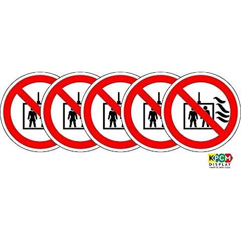 ISO etiqueta de seguridad–señal internacional no utilice ascensor en caso de incendio símbolo–autoadhesivo adhesivo 100mm de diámetro (Pack de 5pegatinas)