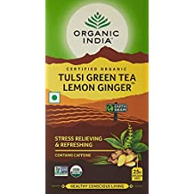 Organic India Tulsi Green Tea, Lemon Ginger, 25 Tea Bags