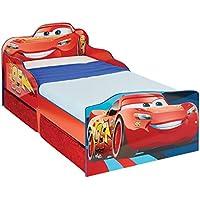 HelloHome 509CAD Disney Cars Lettino per Bambini con Contenitore Sottoletto, Legno, Red, 143 x 77 x 63 cm