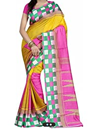 Macube Women's Bhagalpuri Silk Saree With Blouse Piece (Ms221_25, Multicolor, Free Size)