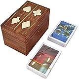 stockage double carte à jouer boîte unique cadeaux en bois indiens faits à la main pour les adultes