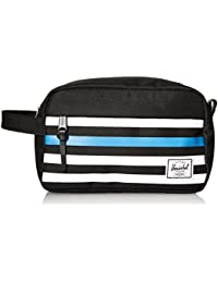 Herschel Chapter Black Offset Stripe/Black Veggie Tan Leather