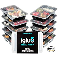 Premium 2 Compartment BPA Free Reusable Meal Prep Containers | Plastic Food Storage Trays with Airtight Lids | Microwavable, Freezer & Dishwasher Safe | Stackable Bento Lunch Box Sets | Bonus eBook