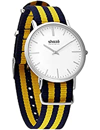 shaz Sins Classic Men's Blue and Yellow Watch