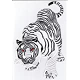 Iron on Patch Sew on Embroidered Application Patches XXL Backpatch White Tiger Snow Cat MC Biker 11.4 x 7.8 inch