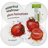 Tomates de ciruelo pelado esencial Waitrose 4 x 400g