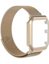 Mira la banda,Reloj Apple Apple reloj 1/2/3 correa de reloj inteligente marco de acero inoxidable succión magnética milanesa,Nueva luz de moda pulsera correa de reloj correa (Champagne)