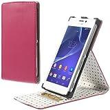 Etui Flip Case Business Case Cover Schutzhülle Sony Xperia M2 STAND deep pink