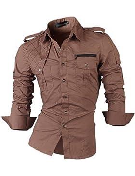 [Sponsorizzato]jeansian Uomo Camicie Maniche Lunghe Moda Men Shirts Casuale Cime 8371