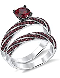 Silvernshine 2.35Ct Round RedGarnet CZ Diamonds 18K WhiteGold PL 7-Row Engagement Bridal Ring Set
