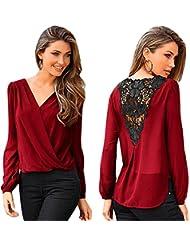 Switchali Col V Tops Shirt à manches longues Décontractée vrac Chemise (XL, rouge)