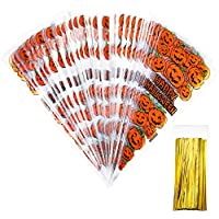 100 Counts Pumpkin Cone Cellophane Bags with 100 Pieces Gold Twist Ties for Halloween Party Favor