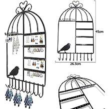 Aution House-Class-Organizer per gioielli, con ganci, da appendere a parete a forma di gabbia per uccellini con supporto per orecchini, gioielleria, collana con supporto per Display nero … - Braccialetto Jewelry Display Stand