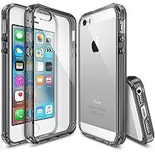 Funda iPhone SE, [Ringke FUSION] La absorción de choque de parachoques de TPU Protección gota, funda duro claro para Apple iPhone SE 2016 / 5S 2013 / 5 2012 - Smoke Black