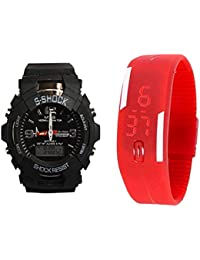 ROKCY COMBO HOT SELLING Black S-shock Small & Led Rubber Red Analog-Digital Watch - For Men & Women