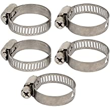 DealMux de tuberías de 16-25 mm de montaje ajustable Worm Gear Abrazaderas 5pcs tono plateado
