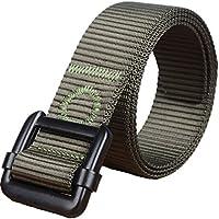 Yacn tessuto uomini della cinghia tattica Duty in nylon per Men1.57 '' ampia con Militare nero fibbia (Verde)
