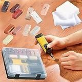 Safekom - 19unidades de herramientas para laminado de suelo y mesa, muebles, armario, Madera, marco de ventana, Kit de reparación, Sistema de cera para arañazos