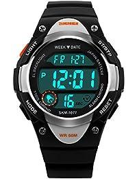 Kinderuhren Jungen,Kinder Digital Uhren Sport Wasserfest Armbanduhr Schwarz