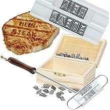 Witziges Grill-Brandeisen mit 80 Wechselbuchstaben - ohne Holzbox