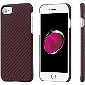 iPhone 7 Hülle PITAKA Schutzhülle aus Aramid (Kugelsicheres Material) Hochwertige Dünne 0.65mm Case mit Schutzfolie, Schwarz/Rot