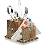 Wood Art Store Wooden Cutlery Holder With Tissue Paper Holder/multipurpose Stand