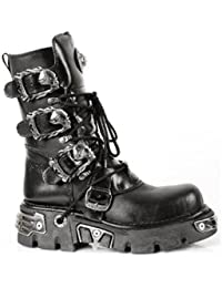 New Rock 391 S1 Reactor Boots Goth Metallic All Sizes Unisex Black Calf Length