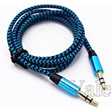 Vale® 1M Trenzada Tela Jack de 3,5 mm macho a macho Cable de audio AUX cable para iPod MP3 del coche - Azul