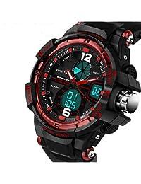 QBD Digital-analog Boys Girls Sport Digital Watch with Alarm Stopwatch Chronograph - 50m Water Proof - FREE luxury gift box ( G Red)