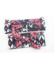 Bllomsem 1 paire de mamans et de bébés Imprimer bande de cheveux élastiques Bohemia style bandeau de coton 06