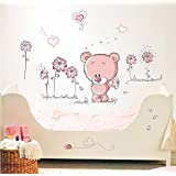 WandSticker4U Wall Sticker Baby Bear in Pink Cute Bear Teddy Bear Heart Flowers Butterflies Ladybird Wall Sticker Decoration for Baby Bedroom Children's Room