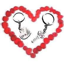 """Wicemoon llavero Nueva pareja llavero : """"I LOVE YOU"""" corazón + llave --- Regalo de San Valentín / aniversario de boda / regalo de cumpleaños (1 par) Dale a un amante un regalo diferente"""