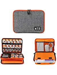 Zonku Waterproof Double Layer Electronic Accessories Gadget Organizer Bag, Universal Carry Travel Gadget Organiser Case for Cables, Plug, Power Bank, Phone, Hard Disk, USB, Adapters- Multi Color
