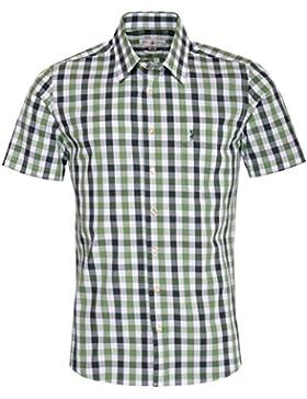 Almsach Kurzarm Trachtenhemd Marcel Slim Fit mehrfarbig in Grün, Dunkelgrün und Weiß inklusive Volksfestfinder