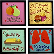 Indianara 4 Piece Set of Framed Wall Hanging Quirky Love Art (1080) Decor Art Prints 8.7 Inch X 8.7 Inch Witho