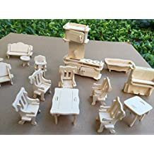 Cute room Wooden Dolls House Furniture Set - 28 Pieces - suitable for Doll House