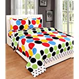 Cotton Double Bedsheet Multi Colored With 2 XL Pillow Covers - Size 90 X 100 Inch And Pillow Cases Size 19X29 (XL) By Decoholic
