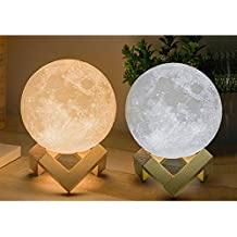 XERGY 10 cm (Small Size) 3D Rechargeable Moon Lamp with Touch Control Adjust Brightness Moon Light with Stand, 2 Colors Led 3D Print Moon Night Light for Valentines Day Gift Ideas Art Decoration