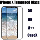 [Sponsored]Apple IPhone X Tempered Glass 5D , 9H Thickness Black / IPhone X Screen Guard Edge To Edge / IPhone X Screen Protector Front / 5D Tempered Glass For IPhone X Black By CaseX™