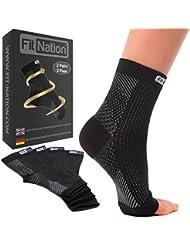 Fit Nation - (2 Paar) Kompressionssocken / Fußgelenk Bandage für effektive Kompression beim Laufen & Sport - Kompressionsstrümpfe für Damen & Herren