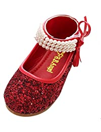 Happy Cherry - Fille Chaussures Souliers Paillettes Ballerine Princesse Sanglé Hook Danse des chaussures - Rouge/Gris Argent